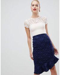 Vesper - Lace Pencil Dress With Flippy Hem In Multi - Lyst