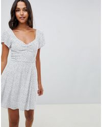 Abercrombie & Fitch Tea Dress With Wrap Detail In Ditsy Spot - Multicolor