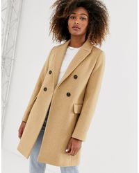 Stradivarius Double-breasted Tailored Coat - Natural