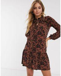 Oasis Leopard Print Drop Waist Dress - Brown