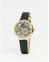 Oasis Часы С Цветочным Узором На Циферблате И Черным Ремешком -черный Цвет