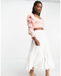Forever New Button Down Tiered Cotton Poplin Midi Skirt - White