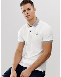 Hollister Icon Logo Heritage Slim Fit Polo Contrast Collar In White Marl
