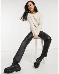 Vero Moda - Maglione soffice color crema con laccetto nero sul retro - Lyst