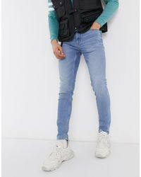 Only & Sons Skinny-fit Jeans Met Lichte Wassing - Blauw