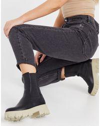 NA-KD Черные Ботинки На Массивной Подошве Контрастного Бежевого Цвета -многоцветный