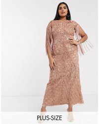 A Star Is Born Exclusive Embellished Maxi Dress With Fringe Sleeves - Metallic