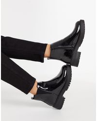 New Look Chunky Patent Chelsea Boot - Black