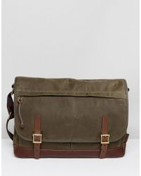 Fossil - Defender Messenger Bag In Waxed Canvas - Lyst