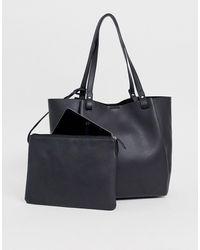 ASOS Bonded Shopper Bag With Removable Tablet Case - Black