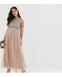 Maya Maternity Bridesmaid Sleeveless Midaxi Tulle Dress With Tonal Delicate Sequin Overlay - Brown