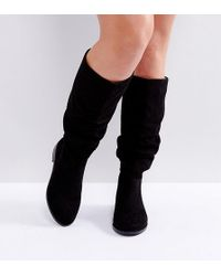 ASOS Asos Capital Wide Fit Slouch Knee Boots - Black