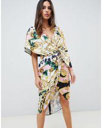ASOS Vestito midi stile kimono - Multicolore