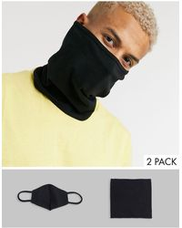 ASOS 2 Pack Organic Cotton Snood And Face Covering - Black