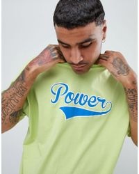 ASOS - Oversized T-shirt In Washed Neon With Power Text Print - Lyst