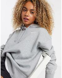 Nike Oversized-худи Серого Цвета С Маленьким Логотипом-галочкой -серый