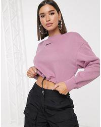 Nike Cropped Sweatshirt Met Klein Logo En Elastisch Trekkoord - Paars