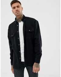 ASOS Oversized Denim Shirt In Black With Double Pockets In Black