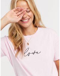 New Look T-shirt à inscription Love - pâle - Rose