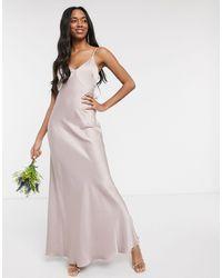Warehouse - Атласное Платье Макси С Бантом Сзади Bridesmaids-розовый - Lyst