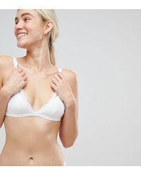 Monki Triangle Lace Bra - White