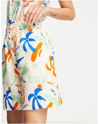 Collusion Unisex Linen Short With Surfer Print Co Ord - Blue