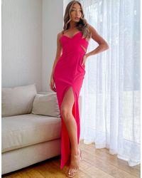 Vesper Вишневое Платье Макси На Бретельках -розовый Цвет
