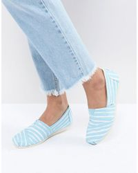 TOMS - Painted Blue Stripe Shoes - Lyst