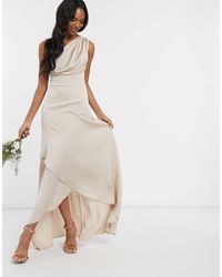 TFNC London - Платье Макси На Одно Плечо Bridesmaid-коричневый - Lyst