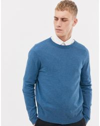 ASOS DESIGN - Cotton Jumper In Pale Blue - Lyst