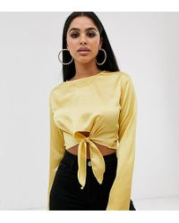 Missguided Satin Tie Front Crop Top In Yellow