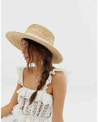 ASOS Натуральная Соломенная Шляпа Со Светлой Лентой - Коричневый