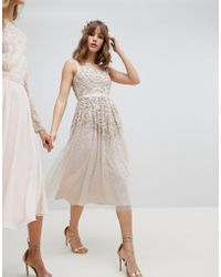 Amelia Rose - Embellished Ombre Sequin Cami Strap Midi Dress - Lyst