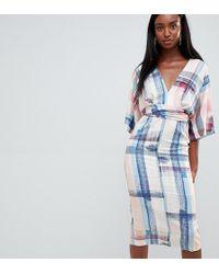 ASOS - Asos Design Tall Abstract Print Kimono Midi Dress - Lyst