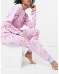 Chelsea Peers Lilo Print Long Sleeved Top And Pants Pyjama Set - Pink