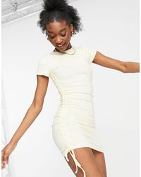 Pull&Bear Ruched Side Mini Dress - White