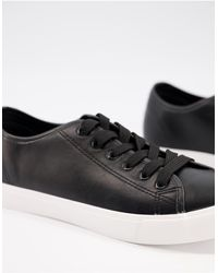 French Connection Faux Leather Lace Up Plimsoll - Black