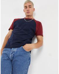 ASOS – T-Shirt mit kontrastierenden Raglan-Ärmeln - Blau