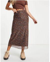 Motel 90s Midi Skirt - Brown