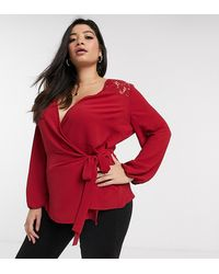 Simply Be Wrap Blouse With Lace Detail - Red