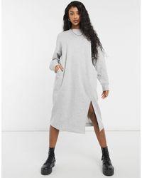 Monki Серое Трикотажное Платье Миди Из Органического Хлопка Coba-серый