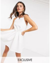 True Violet Exclusive Backless Skater Mini Dress - White