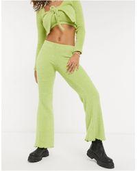 Bershka Пушистые Расклешенные Брюки Зеленого Цвета От Комплекта -зеленый Цвет