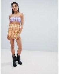 Jaded London Diamante Check Bodycon Skirt Co-ord - Yellow