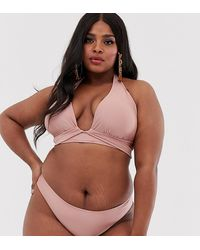 ASOS Asos Design Curve Halter Wrap Triangle Bikini Top In Shiny Mink - Brown