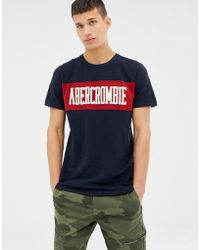 Abercrombie & Fitch Chest Panel Logo T-shirt In Navy - Blue