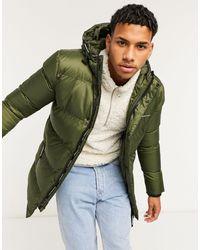 Good For Nothing Abrigo largo en color caqui con capucha y acolchado - Verde