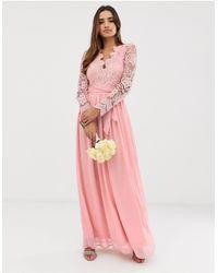 Club L London Club L Bridesmaid Long Sleeve Crochet Detail Maxi Dress - Pink