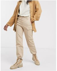 Monki Cuffed Cargo Trousers - Natural