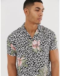 New Look - Revere Collar Shirt In Floral Leopard Print - Lyst